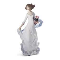 """Lladro Porcelain - Lladro Reverie Moment Figurine - Plus One Year Accidental Breakage Replacement - """" A lady dressed in a vaporous dress transports us to a world, somewhere between dreams and reality, in which we find ourselves whenever we let our imagination fly free. Lladro has represented the world of fantasy in ethereal ladies like this one who incarnates the values of the feminine.  Part Of The Lladro utopia Collection Hand Made In Valencia Spain - Sculpted By: Joan Coderch - Included with this sculpture is replacement insurance against accidental breakage. The replacement insurance is valid for one year from the date of purchase and covers 100% of the cost to replace this sculpture (shipping not included). However once the sculpture retires or is no longer being made, the breakage coverage ends as the piece can no longer be replaced. """""""