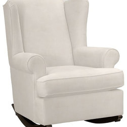 Wing Back Rocker - Rock your baby in this stylish Wing Back Rocker. Add a fun accent pillow for a pop of color and style.