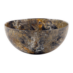Hand-Crafted Glass Bowl, Large, Forest Glen - These hand-painted bowls are in our Ocean Breeze line with colors of blues, sandy yellow, and a touch of white. Reminiscent of the ocean. Perfect for your serving needs.
