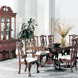 Yuan Tai Furniture - Aretha 8 Piece Dining Room Set - 8399T-8SET - Set includes Dining Table, 4 Side Chairs, 2 Arm Chairs and Hutch/Buffet