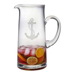 Susquehanna Glass - Anchor Tankard Pitcher, 60oz - Each sturdy pitcher holds 60 ounces and features a stand etched anchor design. Dishwasher safe. Decorated in the USA.