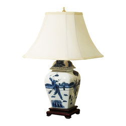 "China Furniture and Arts - Hand Painted Porcelain Lamp w/Silk Shade - What a glorious interpretation of ""Child's play"" hand-painted on this blue-and-white glazed porcelain lamp. Handcrafted in China, it is mounted on a rich, rosewood base and topped with an ivory silk shade. 75-watt max. (Bulb not included)"