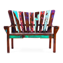 EcoChic Lifestyles - Dock Holiday Reclaimed Wood Bench - The laid-back vibe of the Dock Holiday Bench, with its back shaped into a lazy curve, makes it easy to imagine snuggling at twilight with a loved one, eyes on the horizon. The paint is naturally worn off the marine-grade reclaimed wood, and the slats evoke the look of a classic picket fence.