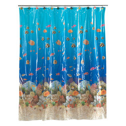 """""""Sealife"""" Vinyl Shower Curtain - """"Sealife"""" 5 gauge vinyl print shower curtain, size 72""""x72"""". Bathe among the fishes with our fun """"Sealife"""" Vinyl Shower Curtain. Made of a durable, heavy (5 gauge) vinyl, this standard-sized (72'' x 72'') curtain is water repellant and wipes clean easily.  Wipe clean with damp sponge with warm soapy cleaning solution"""