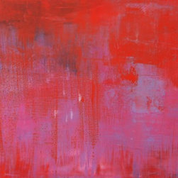 """Sarah Gentry - """"Pinkish Red"""" Original Oil and Wax Painting - This is an original oil and wax painting on board with 2"""" frame. The frame is natural wood."""
