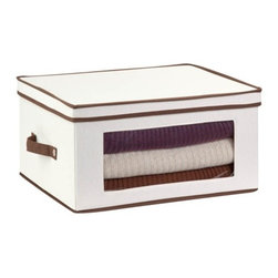 Natural Canvas Large Window Storage Chest - Honey-Can-Do SFT-02067 Stemware Storage Chest, Natural/Brown. Store up to 12 balloon style glasses in this 18.5x14 inch storage box. The clear view window lets you easily see the contents while the lift off lid simplifies access. Protective inserts help safeguard against chips or scratches. Remove the dinnerware inserts and this storage box turns into a great closet organization tool. Store boots, sweaters, linens, or seasonal clothing. In classic off-white with brown accents, this stackable storage box will instantly upgrade any pantry or closet. Made of polyester and cotton canvas.