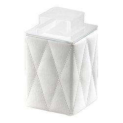 Gedy - White Faux Leather Square Soap Dispenser - Trendy, decorative bathroom liquid soap dispenser.