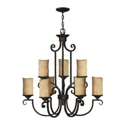 Hinkley Lighting - Hinkley Casa Olde Black Nine-Light 28.5 Wide Chandelier - Casa makes the most of its fine details- individually unique antique scavo glass twisted wrought iron and hand-forged scrollwork in an Olde Black finish complete its rustic-chic appeal with a Southwestern flair.Under four generations of family leadership Hinkley Lighting has transformed from a small outdoor lantern company to a global brand intent on bringing you the best in style quality and value. LIFE AGLOW: That's their mantra and they take it seriously. By welcoming their products into your home they become part of your family's everyday life illuminating small moments and big occasions. They understand your home is so much more than a physical place. It's an emotional space designed by you so they are committed to keeping your 'Life Aglow' with stylish state-of-the-art lighting. Their products are the ultimate combination of style and substance. They are constantly developing new technologies to make their fixtures even more energy efficient. Hinkley recently upgraded their LED to cutting-edge high lumen output integrated solutions and they give you hundreds of energy-efficient styles to choose from. Even their Cleveland-based world headquarters employs high energy saving standards with low VOC materials and a variety of eco-smart applications into the design to make an earth-friendly work environment for their Hinkley family. Hand crafted fixtures luxe finishes artistic details and quality materials go into the design of every product they make. They embrace the philosophy that you can merge together the lighting furniture art and accessories you love into a beautiful environment that defines your own personal style.