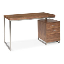 Moe's Home Collection - Moe's Home Martos Desk in Walnut - Contemporary desk with stainless steel accents with self contained filing cabinet. This desk will fit in any size home or office