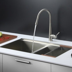 Ruvati - Ruvati RVC2383 Stainless Steel Kitchen Sink and Stainless Steel Faucet Set - Ruvati sink and faucet combos are designed with you in mind. We have packaged one of our premium 16 gauge stainless steel sinks with one of our luxury faucets to give you the perfect combination of form and function.