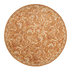 Jaipur Rugs - Jaipur Rugs Hand-Tufted Oriental Wool Orange/Ivory Round Area Rug, 8' Round - The Poeme Collection takes traditional designs and re-invents them in a palette of modern, highly livable colors. Each design is made from premiere hand-spun wool and crafted with precision for the look and feel of a hand-knotted rug, at the more affordable cost of a hand-tufted. Poeme will effortlessly coordinate individual design elements to finish any room.
