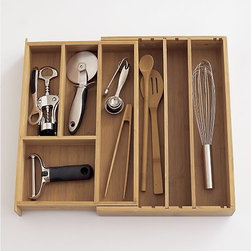 Expandable Bamboo Gadget Tray - Give all of those utensils and odds and ends their own place in the kitchen. This tray is expandable to fit most drawers and handsome enough to leave out on your counter top too.