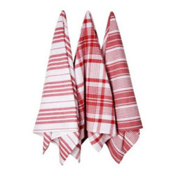 Red Berry Striped Kitchen Towels - Set of 3 - Handwoven in India, these 100% cotton towels will add a subtle dose of red, lending your contemporary kitchen just the right amount of appetizing charm.