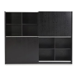 Zuri Furniture - Jackson Executive Bookcase - Black - The clever design of the Jackson bookshelf displays what you want to be seen and conceals your less appealing gadgets. Showoff your leather bound books or store away the ugly paper weight your boss gave you. The adjustable cabinets can be your best ally in maintaining an orderly office.
