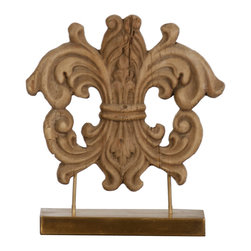Kathy Kuo Home - French Country Wood Carved Crest Sculpture on Stand - Embellish your mantel or tabletop with this lavish fleur de lis wooden sculpture. Hand carved in poplar, this accent piece  is not only a beautiful decorative item but a popular symbol in European history perfect for anyone lacking their own coat of arms