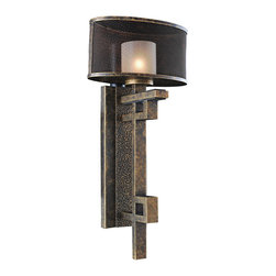 Kalco Lighting - Kalco Lighting 6710VB Stanley 1 Light Wall Sconces in Volcano Bronze - The Stanley Collection is an industrial interpretation of Art Deco. Featuring Kalco�s exclusive Volcano Bronze finish with Metal Mesh Screen encasing Frosted Glass shades, the clean lines and cylindrical drums are sleek yet assertive.