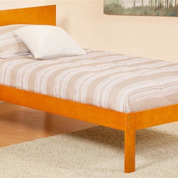 Atlantic Furniture - Eco-friendly Twin Platform Bed - Mattress and pillows not included. Flat panel foot board. Open and symmetrical design. Warranty: One year on parts. Made from rubber wood. Caramel latte finish. 76.88 in. L x 43.62 in. W x 33.5 in. H (60 lbs.). Footrail Assembly Instructions. Headboard Assembly InstructionsThe low profile headboard is modern and looks great anywhere.