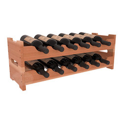 12 Bottle Mini Scalloped Wine Rack in Redwood with Satin Finish - Stack two 6 bottle scalloped racks for a decorative 12 bottle rack using pressure-fit dowels for easy assembly. Makes for a perfect gift and stores wine on any flat surface.
