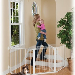 KidCo - KidCo Auto Close Configure Gate - White - G3000 - Shop for Safety Gates from Hayneedle.com! The KidCo Auto Close Configure Gate - White is a perfect solution for protecting any oddly configured space in your home. Crafted from durable steel material this handy gate features quick-release wall hardware that allows for secure mounting points that do not line up directly. The easy-to-open gate latch features a dual magnet lock that automatically closes when not held open. For high-traffic times a hold open feature suspends the auto-close function. For added use this gate can be connected to form a free standing play area.About KidCoIncorporated in 1992 KidCo specializes in the designing engineering and production of upscale products for juvenile pet and fireplace markets. The pressure-mounted safety gate was a completely new concept that put KidCo on the map and has since been the cornerstone of their business. KidCo offers a comprehensive assortment of child home safety products ranging from cabinet locks to TV straps and much much more. Located in Libertyville IL their state-of-the-art distribution and administration systems ensure that KidCo fulfills their customers' needs and expectations in an efficient and timely manner. Today KidCo personnel still personally ensure the highest level of customer service to both dealers and end consumers.