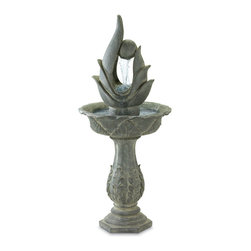 KOOLEKOO - Outdoor Standing Designer Water Fountain - Classic and modern come together to create a truly stunning water sculpture! Atop a stately column, clear cascades of water sparkle from the faux-stone ball, cradled by a stylized abstract shape. An irresistibly unique piece of garden art!