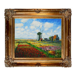 """overstockArt.com - Monet - Tulip Field with The Rijnsburg Windmill Oil Painting - 20"""" x 24"""" Oil Painting On Canvas Hand painted oil reproduction of a famous Monet painting, Tulip Field with the Rijnsburg Windmill. The original masterpiece was created in 1886. Today it has been carefully recreated detail-by-detail, color-by-color to near perfection. While Monet successfully captured life's reality in many of his works, his aim was to analyze the ever-changing nature of color and light. Known as the classic Impressionist, one can not help but have deep admiration for his talent. This work of art has the same emotions and beauty as the original. Why not grace your home with this reproduced masterpiece? It is sure to bring many admirers!"""