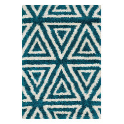 """Loloi Rugs - Loloi Rugs Cosma Collection - Blue / Ivory, 5'-2"""" x 7'-7"""" - A room with a point of view; that's what you get with the Cosma Collection. Power-loomed in Egypt of polypropylene and polyester, Cosma's shaggy stripes, diamond and other intricate patterns come alive with energetic movement, and buzz with vivid colors. Your home will, too."""