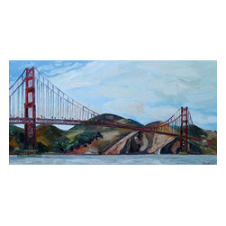 Golden Gate Bridge, Original, Painting - I painted this painting on location (plein air) from crissy field in san francisco, california. it is full of rich, bold, colorful brushstrokes.