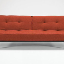"Innovation USA - ""Innovation USA"" Splitback Burned Orange Sofa Bed with Chrome Legs - Featuring the adjustable backrests, this modern ""Innovation USA"" Splitback Burned Orange Sofa Bed can be used as a sofa, chaise or a bed. The seating features the patented Icomfort pocket spring mattress. The base is made of steel with chrome finish.    Features:"