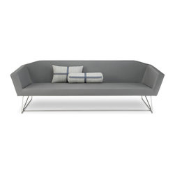 Blu Dot - Blu Dot Swept Sofa, Slate - An understated stitch traces the lean silhouette of this finely tailored sofa. Gently flared arms hover over a barely-there stainless steel base. Available in slate or white contract grade leather alternative upholstery.
