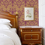 Large Acanthus Damask Stencil - Large Acanthus Damask Wall stencil from Royal Design Studio Stencils. This wine colored accent wall is embellished with a classic hand painted, gold pattern that would also be stunning in a dining room,  powder room or hall way.