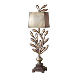 Uttermost - Angelita Metal Leaf Buffet Lamp - It won't take long for this metal leaf buffet lamp to grow on you! A spiral of beautifully burnished olive branches and leaves peeks out from the rectangular metal shade to give this lamp its whimsical Old World charm. Here's your ideal topper for your buffet in the dining room or to light the way on the console table in the foyer.