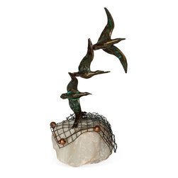 """Pre-owned Curtis Jeré Seagulls Sculpture - A stunning sculpture of three bronze seagulls on a quartz base, signed """"Curtis Jeré"""" in two places. This piece was likely made between 1950 and 1970."""