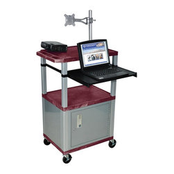 H. Wilson - Tuffy Presentations Cart w Nickel Legs in Burgandy - Includes lock with a set of two keys and three outlet 15 ft. cord. Monitor mount features 270 degree swivel, 180 degree tilt and adjustable height. Recessed chrome handle. 20 gauge steel cabinet. Recessed chrome handle. Locking steel cabinet panels fit firmly into the specially molded leg slots. Cable management access in back cabinet panel. Three shelves. 0.25 in. safety retaining lip and a raised texture surface to enhance product placement and ensure minimal sliding. 4 in. silent roll. Full swivel ball. 1.5 in. square nickel colored legs that will not chip, warp, crack, rust or peel. 4 in. heavy duty casters, two with locking brakes. High density polyethylene structural foam injection molded plastic shelves. Cord with cord management wrap and three cable management clips. Electrical attachment recessed to insure easy passage through doorways. Shelves and legs are made from recycled material. UL listed electrical assembly. Made from polyethylene and plastic. Made in USA. Minimal assembly required. Pullout shelf: 19.63 in. L x 15.63 in. W. Shelves: 24 in. L x 18 in. W x 1.5 in. H. Overall: 24 in. L x 18 in. W x 42.5 in. H. Warranty
