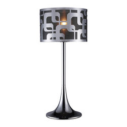 Dimond Lamps - Blawnox Modern Chrome Table/Accent Lamp - An ultra modern and elegant table lamp, Blawnox adds a touch of mystery and sensuality to any contemporary space. Composed of steel, expertly finished in chrome, a round base tapers upward leading to its thin stem. At its crown, a drum-shaped shade, also composed of steel and tendering an abstract cutout design, sits in front of a black organza fabric liner. Blawnox is a stunning lamp alone and even more stunning in a duo.