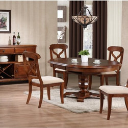 Sunset Trading - Sunset Trading Andrews 5 Piece Pedestal Dining Set - Chestnut Multicolor - SET49 - Shop for Dining Sets from Hayneedle.com! The Sunset Trading Andrews 5 pc. Pedestal Dining Set is a lovely family sized table that can extend to allow extra seating when guests come around. Exquisitely designed this table features an octagonal base pedestal style base and is the perfect height for taller chairs and stools. The self-storing leaf effortlessly extends the table an extra 12 inches and achieves an oval shape that's sure to impress. Great for casual as well as formal dining Andrews Pedestal Oval Dining Table is a wonderful addition to any home. Warm chestnut wood finish. Table dimensions: 48-60L x 48W x 30H inches when fully assembled with leaf. Chair dimensions: 21W x 19D x 38H inches. Backed by a one-year limited warranty. Server: You can choose to add the matching dining server. Features include; wood construction with Asian hardwoods and veneers with a warm chestnut finish. 2 felt-lined drawers with European glides. Spacious storage cabinet and wine rack. Metal hardware and molded feet. Full length open shelving for easy access or showcasing decorative items. Server dimensions: 48L x 17W x 36H inches. About Sunset TradingThis product is designed and manufactured by Sunset Trading. Located in Londonderry New Hampshire Sunset Trading creates high quality furniture for bedrooms living and dining rooms. Their furniture features side roller drawer guides four corner English dovetails solids and veneers. Dining rooms feature epoxy resin constructed chairs with metal support brackets which make their chairs 100 times stronger than glued chairs. Rest assured you're making an excellent choice when you purchase a fine furniture item from Sunset Trading.