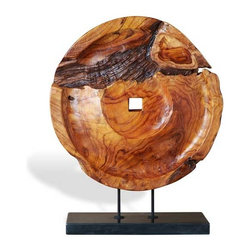 Interlude Home - Interlude Home Palu Wood Wheel Sculpture - This Interlude Home Wood Wheel Sculpture is crafted from Wood and Marble and finished in Natural Polished and Black.  Overall size is:  19 in. W  x  8 in. D x 25 in. H.