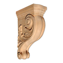"Inviting Home - Jacksonville Large Bracket - Red Oak - wood bracket in red oak 13""H x 8-1/2""D x 4-3/4""W Corbels and wood brackets are hand carved by skilled craftsman in deep relief. They are made from premium selected North American hardwoods such as alder beech cherry hard maple red oak and white oak. Corbels and wood brackets are also available in multiple sizes to fit your needs. All are triple sanded and ready to accept stain or paint and come with metal inserts installed on the back for easy installation. Corbels and wood brackets are perfect for additional support to countertops shelves and fireplace mantels as well as trim work and furniture applications."