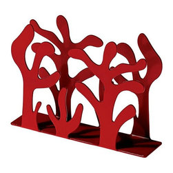 "Alessi - Alessi ""Mediterraneo"" Paper Napkin Holder - You can wipe your mouth, but you won't be able to wipe the smile off your face. This fun napkin holder features wavy, coral-like branches to keep things upright and tidy. It's made of steel and comes in your choice of red epoxy resin or shiny stainless finishes."