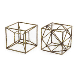 Vertuu Design - Nuru (Set of 2) - Decorate your home with the stylish Nuru Accent Pieces. These metal squares feature interior geometric designs and a slightly distressed gold leaf finish. Set them atop an entryway table or mantel for a bold, unique look that pairs well with contemporary decor.