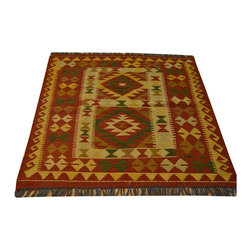 Area Rug, Flat Weave Hand Woven Reversible Anatolian Kilim 3'X4' Rug SH13622 - Soumaks & Kilims are prominent Flat Woven Rugs.  Flat Woven Rugs are made by weaving wool onto a foundation of cotton warps on the loom.  The unique trait about these thin rugs is that they're reversible.  Pillows and Blankets can be made from Soumas & Kilims.
