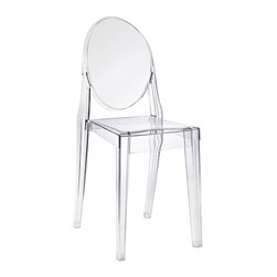 POLY+BARK - Victoria Ghost Style Side Chair Transparent Crystal - 1 CHAIR, 1 Chair - For Indoor or Outdoor Use