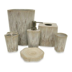 Bacova Guild, Ltd. - Whitman Waste Basket by Bacova Guild - Bring the wonders of the forest into your bathroom with the Whitman Bath Ensemble by Bacova Guild. The ensemble features impeccable carved stoneware with a special glaze that makes the set appear to be made from the bark of a tree.