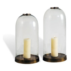 Interlude - Interlude Jasmin Bell Jars - Set of 2 - With an antique brass metal base, the Jasmin Bell Jars evoke days past with timeless style.