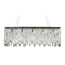 Lightupmyhome - 40-inch Sofia Glass Crystal Rectangular Chandelier - This gorgeous chandelier will be a beautiful addition to your decor.   Finished in antique brass and covered in glass crystals this elegant chandelier is perfect for your dining area or kitchen island.