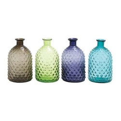 Benzara - Set of 4 Colorful Glass Vase - Set of 4 colorful glass vase. Add a splash of attractive and soothing colors to your abode with this Set of 4 assorted glass vase. Some assembly may be required.