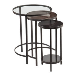 """Holly & Martin - Holly & Martin Ocelle 3pc Nesting Tables X-0189CO - Nestle up! Elevate your home d&#233:cor style with the Ocelle set of circular nesting tables. Each table sports a unique tabletop, sturdy black frame, and a streamlined shape that works perfectly for smaller spaces. Use these tables together for extra tabletop space, or place them individually around the home wherever they're needed. Short on space? Tuck all three tables back together as needed.   - OVERVIEW                                                                                              - Mixed material tabletops create an eclectic look                                                      - Easy to assemble: simply insert supports and place tabletops                                          - Black w/ varied tabletop finishes                                                                     - Tempered glass, antique mirrored glass, and granite tabletops (large to small)                        - Includes 3 round, nested tables                                                                       - Small table features 1 fixed shelf                                                                    - DETAILS                                                                                               - Small table lower shelf: 8.75"""" DIA x 14.25"""" H                                                         - Clearance below: 16.5"""" DIA x 21.25"""" H (lg), 12.75"""" DIA x 19.25"""" H (med), 9.5"""" DIA x 3.25"""" H (sm)      - Supports up to: 30 lb. (per tabletop), 10 lb. (lower shelf)                                           - Materials: metal, 5mm tempered glass, 5mm antique mirrored glass, granite                             - Assembly: required                                                                                    - Overall: 17"""" DIA x 22"""" H (nested)                                                                     - Overall: 17"""" DIA x 22"""" H (large), 13.5"""" DIA x 20.5"""" H (medium), 10"""" DIA """