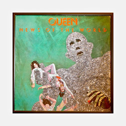 """Glittered Queen News of the World Album - Glittered record album. Album is framed in a black 12x12"""" square frame with front and back cover and clips holding the record in place on the back. Album covers are original vintage covers."""