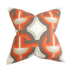 """The Pillow Collection - Rineke Geometric Pillow Orange 18"""" x 18"""" - Lend a modern twist to your interiors with this chic throw pillow. This statement pillow features an oversized geometric pattern in shades of orange, gray and white. The bold print makes this accent pillow a perfect standalone decor piece in your living room, bedroom or anywhere inside your home. Constructed with 100% soft and high-quality cotton fabric. Hidden zipper closure for easy cover removal.  Knife edge finish on all four sides.  Reversible pillow with the same fabric on the back side.  Spot cleaning suggested."""