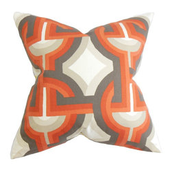 "The Pillow Collection - Rineke Geometric Pillow Orange 18"" x 18"" - Lend a modern twist to your interiors with this chic throw pillow. This statement pillow features an oversized geometric pattern in shades of orange, gray and white. The bold print makes this accent pillow a perfect standalone decor piece in your living room, bedroom or anywhere inside your home. Constructed with 100% soft and high-quality cotton fabric. Hidden zipper closure for easy cover removal.  Knife edge finish on all four sides.  Reversible pillow with the same fabric on the back side.  Spot cleaning suggested."