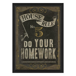 The Artwork Factory - House Rule No 5 Framed Artwork - Ready-to-Hang, 100% Made in the USA, museum quality framed artwork